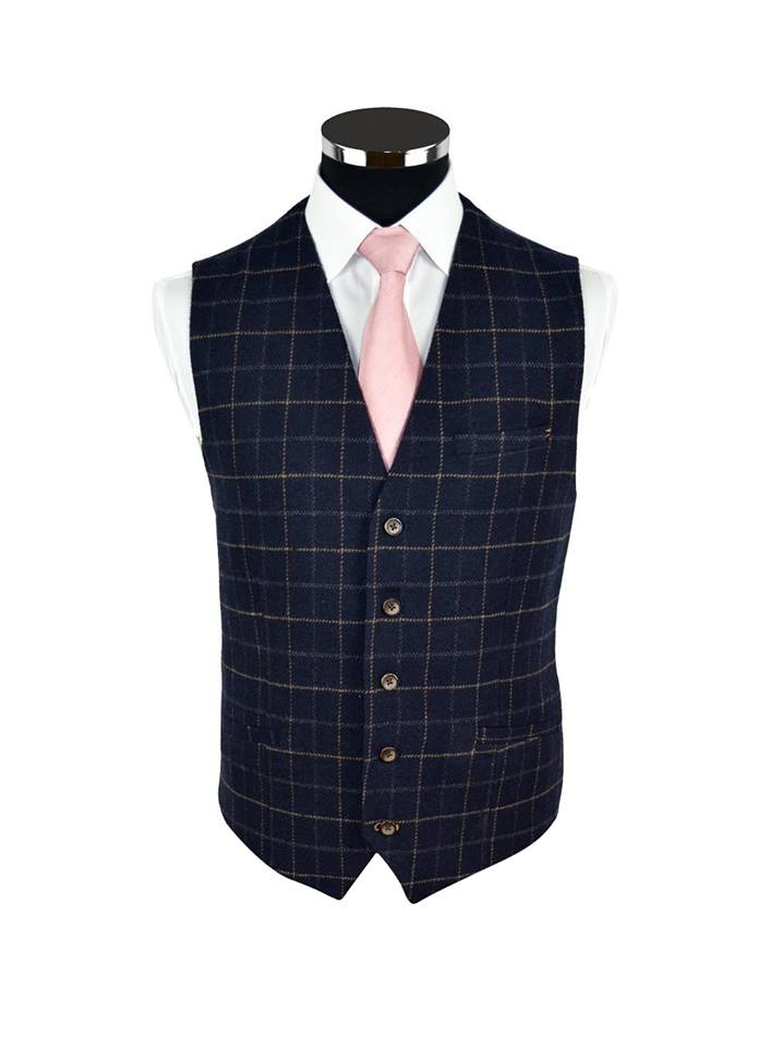 Navy Check Tweed